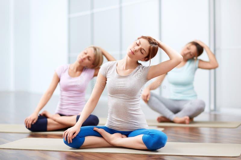 Sesiones de la yoga del grupo imagen de archivo