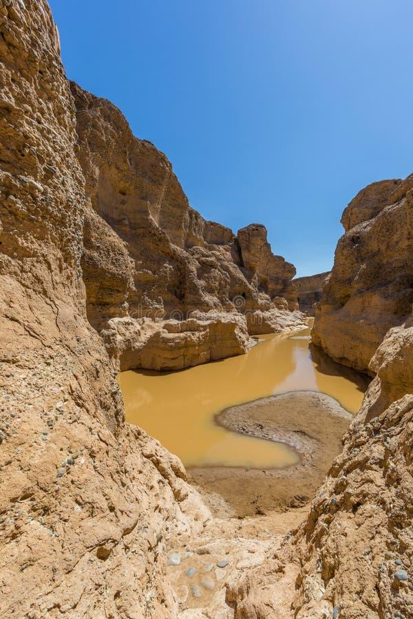 Sesriem-Schlucht in Namibischer W?ste mit Wasser, blauer Himmel lizenzfreies stockbild