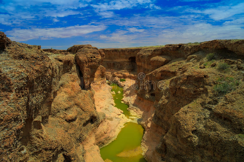 Sesriemcanion van Tsauchab-rivier, Sossusvley Namibië royalty-vrije stock foto