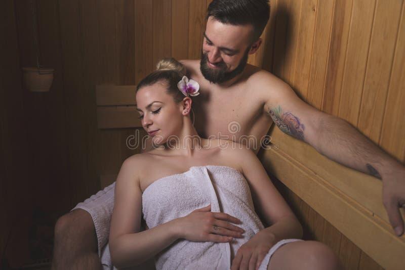 Sessão da sauna fotos de stock