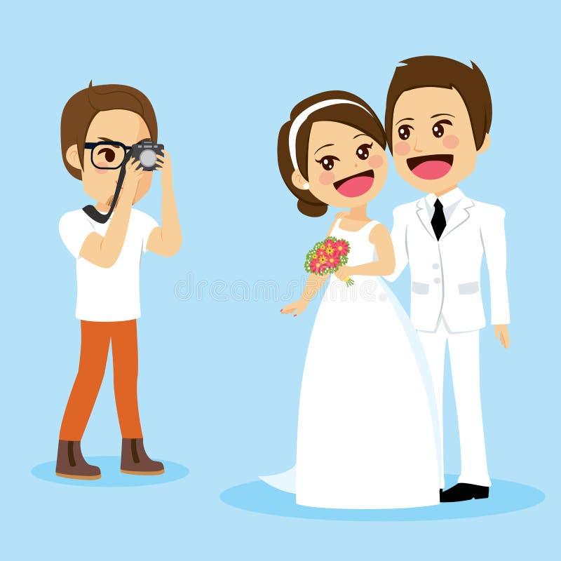 Sessão de foto dos pares do recém-casado ilustração royalty free