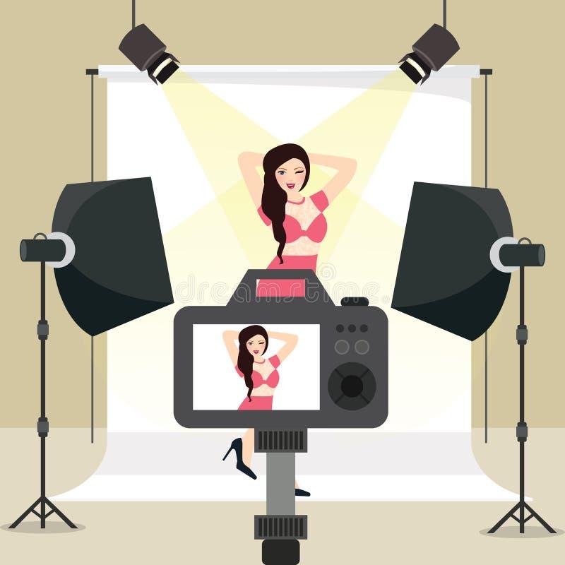 Sessão de foto no tiro da menina do estúdio atrás da iluminação do fundo do estroboscópio do equipamento da câmera ilustração do vetor