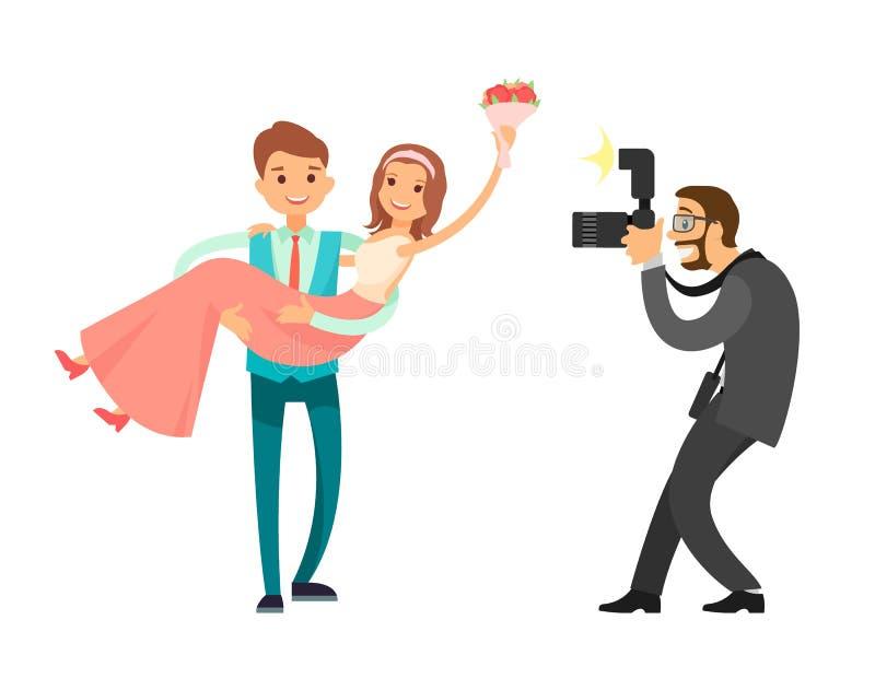 Sessão de foto profissional do noivo Bride do recém-casado ilustração royalty free