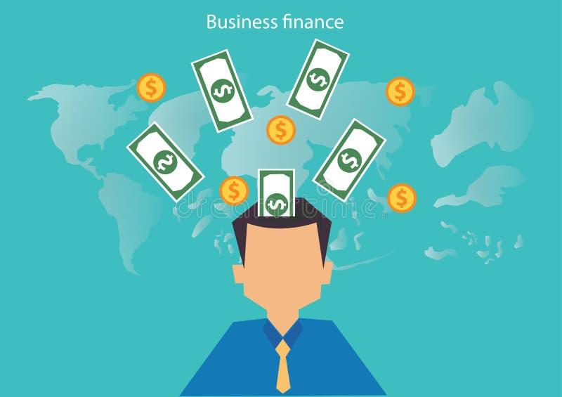 Sessão de reflexão do homem de negócios do vetor com finança e mapa do mundo do dinheiro Projeto liso ilustração royalty free