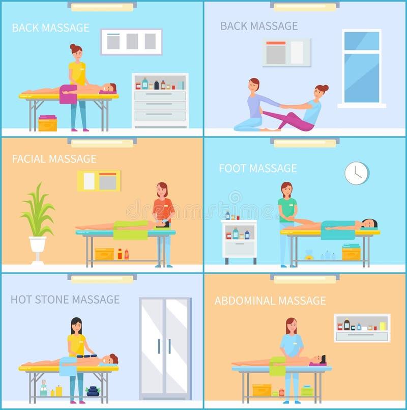 Sessão de terapia da massagem na sala com equipamento ilustração stock