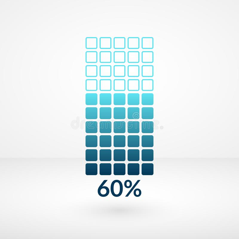 Sessanta simboli isolati grafico quadrato di per cento Icona di vettore di percentuale per finanza, affare illustrazione di stock