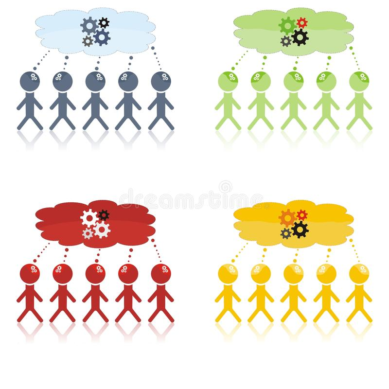 Session de séance de réflexion avec cinq personnes illustration de vecteur