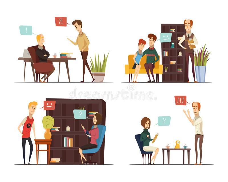 Session Of Psychologist Flat Compositions. With specialists and visitors talking about problems interior elements isolated vector illustration royalty free illustration