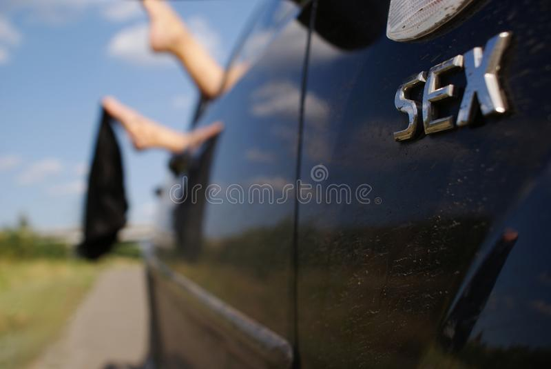 Sesso nell'automobile fotografia stock