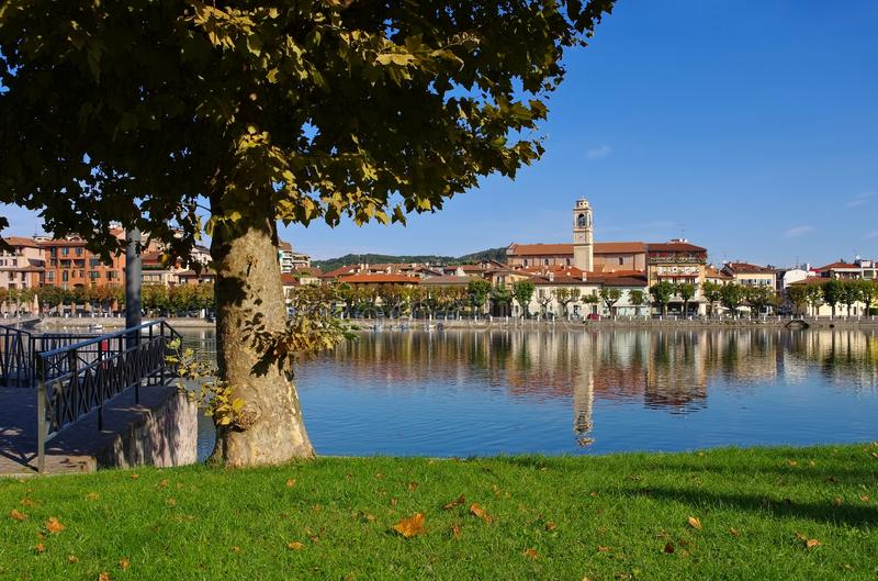 Sesto Calende on lake Lago Maggiore. In northern Italy royalty free stock photos