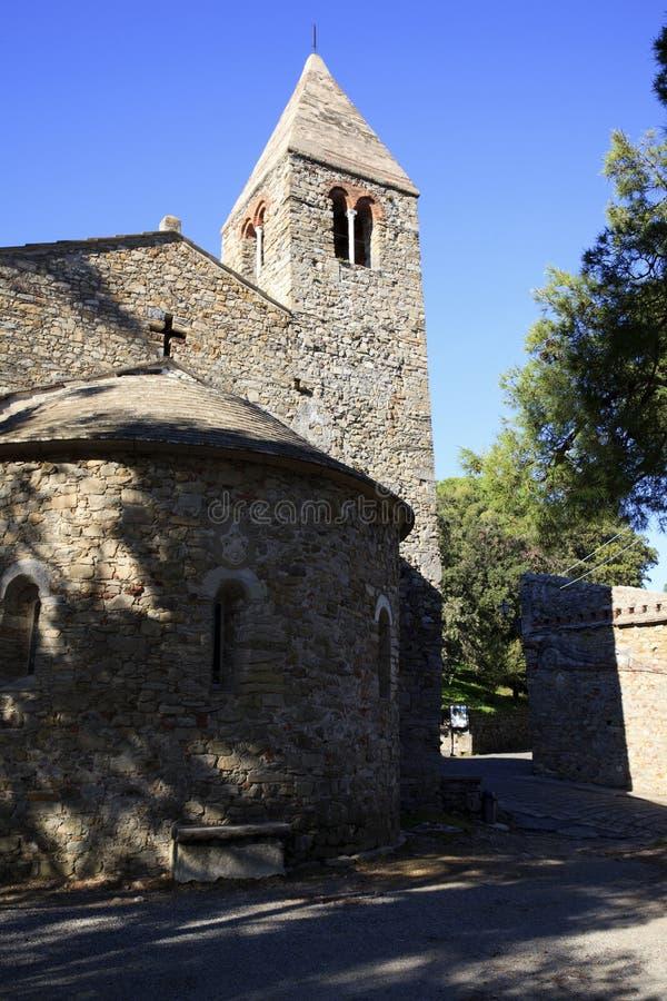 Sestri Levante la pietra antica della chiesa, Genova, Liguria, Italia, Europa fotografia stock