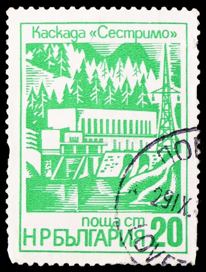 Sestvitrodam en hydro-elektrische machtsfaciliteit, Moderne Industriële Gebouwen serie, circa 1976 royalty-vrije stock foto