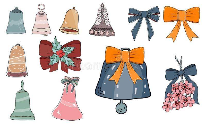 Setów cosy wektorowi ilustracyjni elementy - dzwony ilustracja wektor