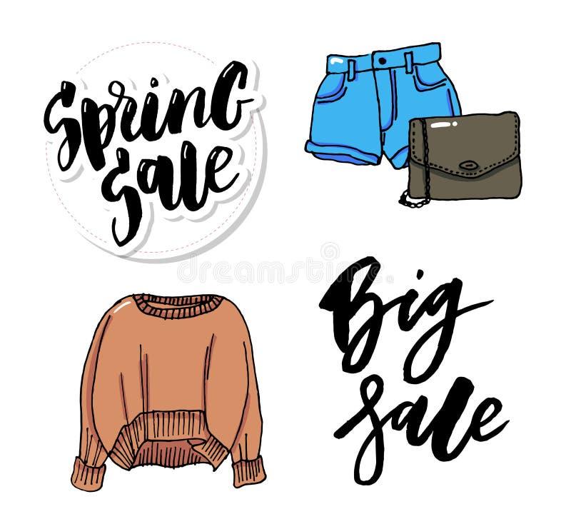 Setów ubrania cienieją kreskowego stylu mody ilustracji sprzedaż ilustracja wektor