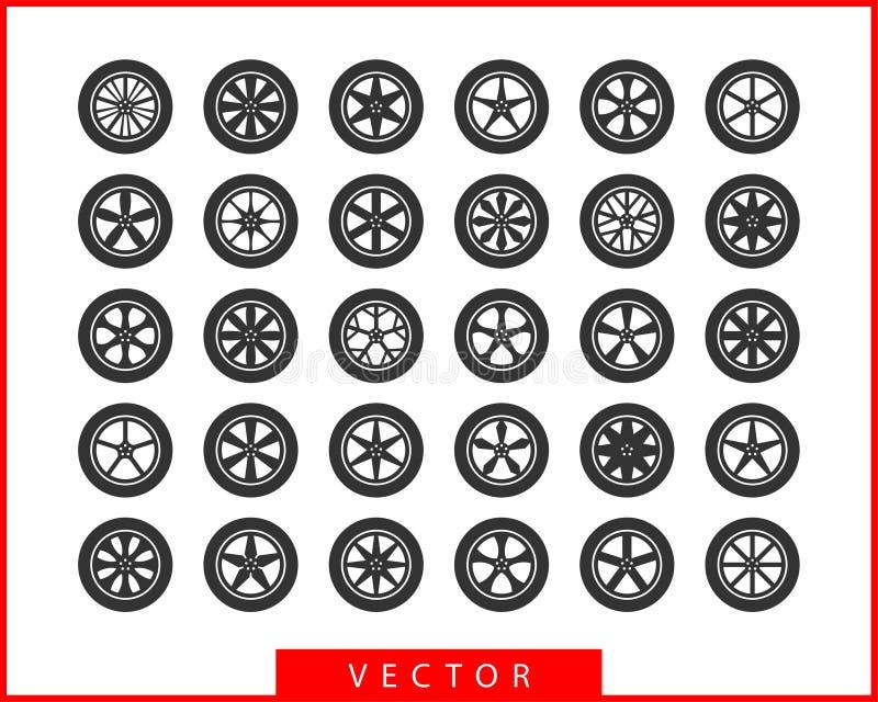 Setów koła i opony Dyska koła ikony samochodowy wektor royalty ilustracja