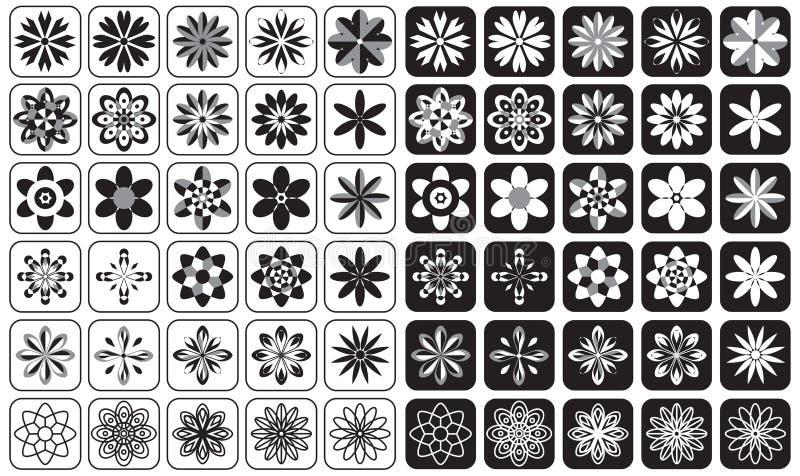 Setów kwiaty i ornament ikony royalty ilustracja
