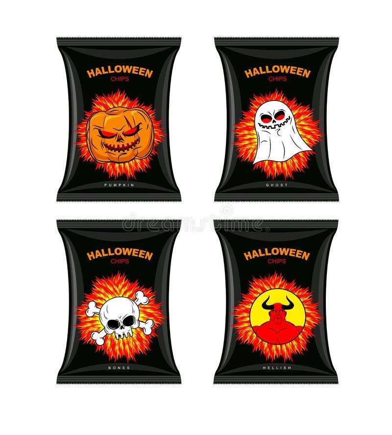 Setów układy scaleni dla Halloween Okropny jedzenie dla wakacje Przekąski z ilustracji