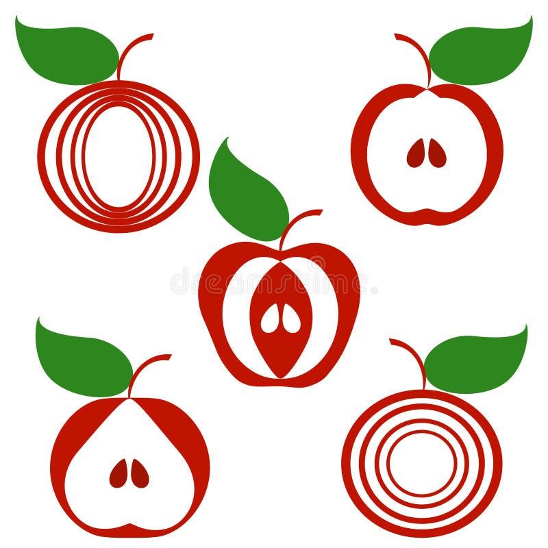Set Äpfel getrennt auf weißem Hintergrund. stock abbildung