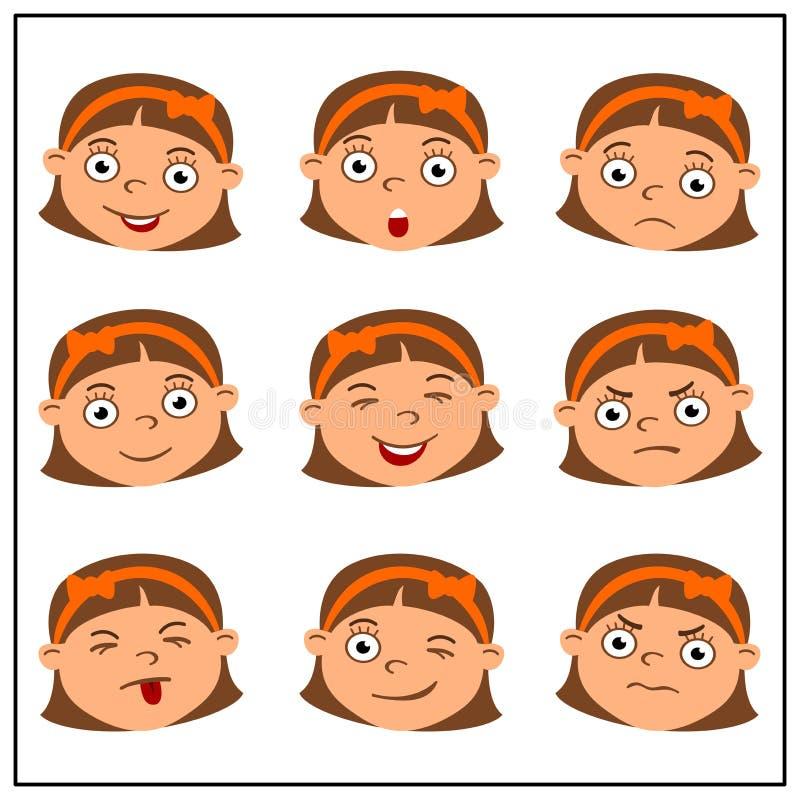 Set śmieszne dziewczyn twarze z różnymi emocjami w kreskówka stylu obrazy stock