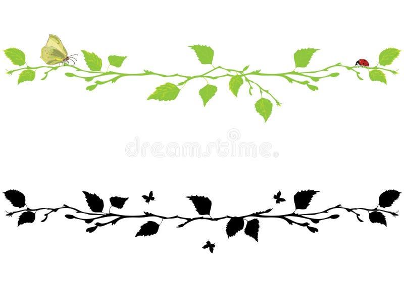 Set ćwiartowanie z brzozy drzewem ilustracji