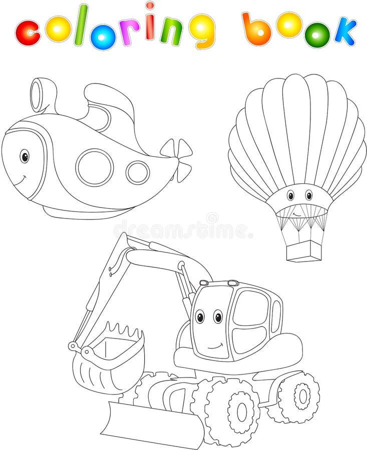Set łódź podwodna, balon i ekskawator, Kolorystyki książka dla dziecka royalty ilustracja