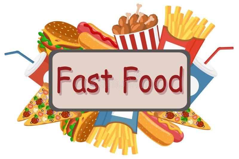 Set łasowanie fast food na białym tle royalty ilustracja