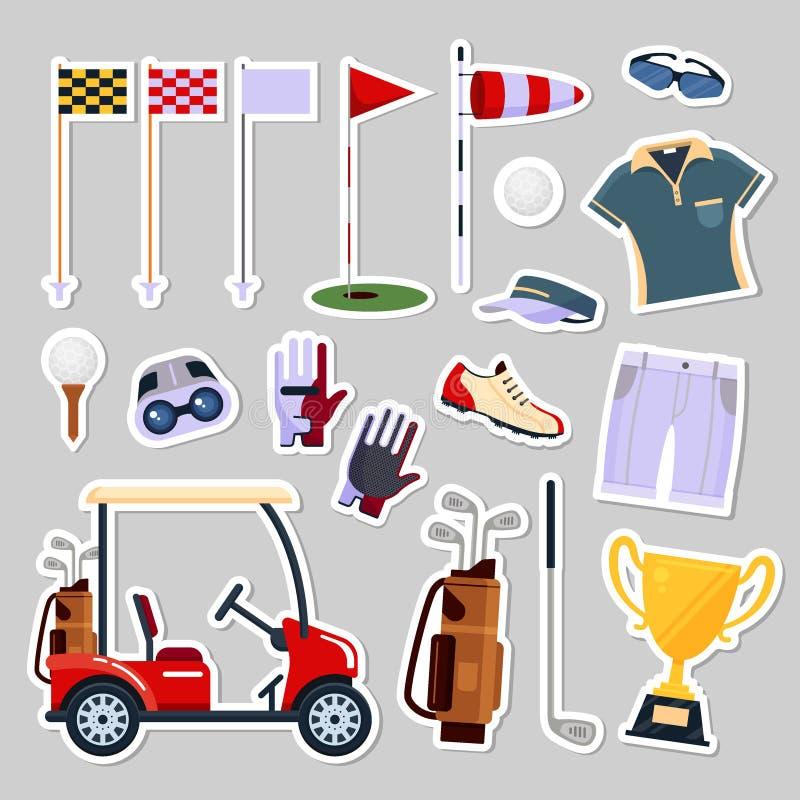 Set łat odznak golfowego wyposażenia ikony logo w mieszkanie stylu Odziewa i akcesoria dla grać w golfa, sport gra, wektor royalty ilustracja