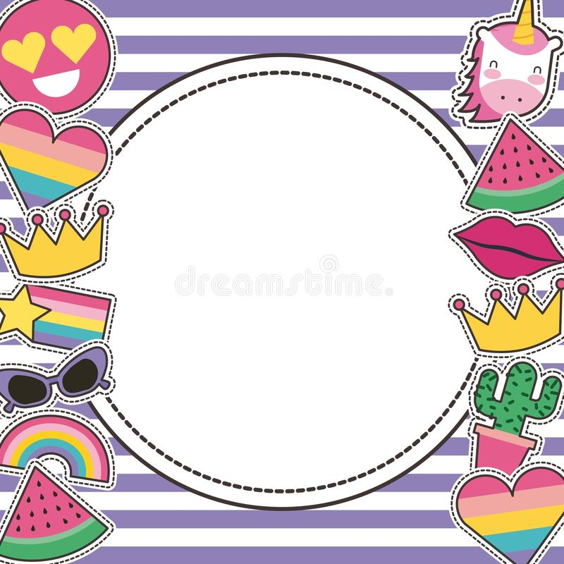Set łaty lub round odznaki śliczna kreskówka paskuje tło ilustracja wektor