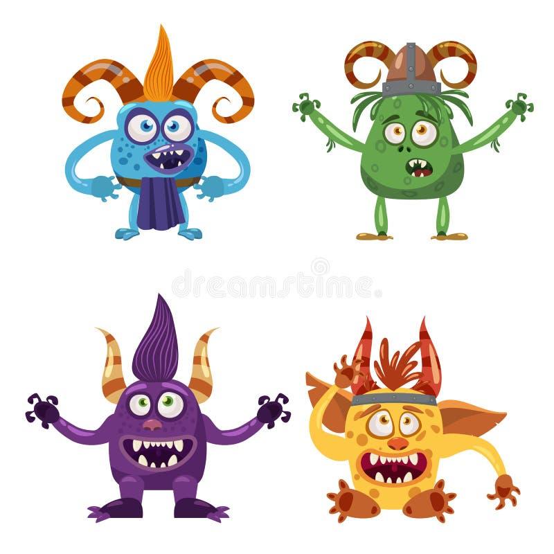 Set śliczna śmieszna charakter błyszczka, Bigfoot, yeti, chochlik, z różnymi emocjami, kreskówka styl dla książek, reklamuje royalty ilustracja