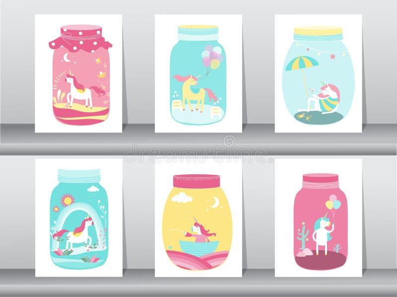 Set śliczna śmieszna kreskówki jednorożec w szklanym słoju Odosobnionym, Magiczny, przedmioty, kartka z pozdrowieniami ściągania  ilustracji