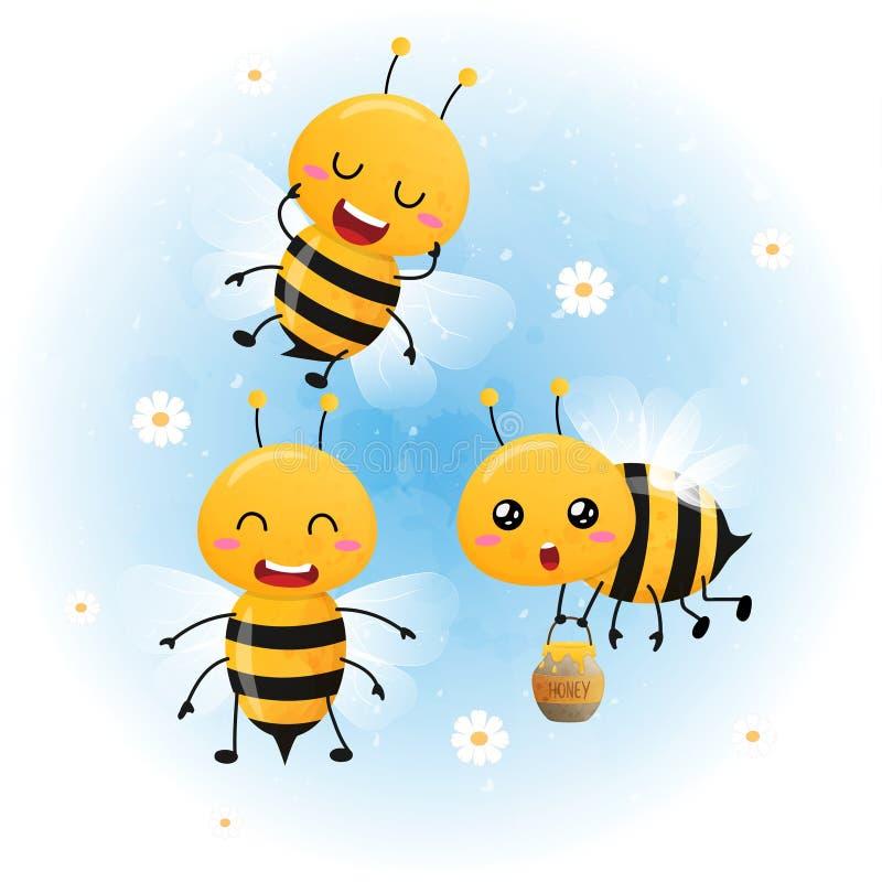 Set śliczna jaskrawa dziecko pszczoły akwarela ilustracji