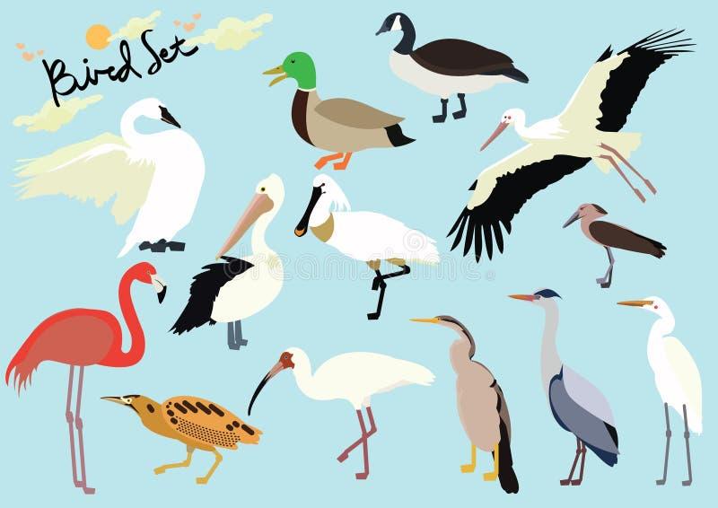 Set śliczna kreskówka ptaków wersja 2 na odosobnionej błękitnej tło wektoru ilustracji ilustracji
