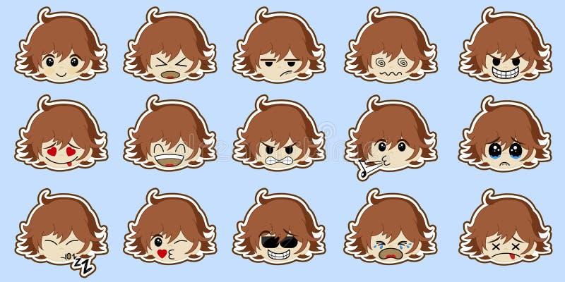 Set śliczna kreskówki chłopiec z różnorodnymi emocjami Ch?opiec twarz z r??nymi wyra?eniami ustawia majcheru Etykietki kolekcja royalty ilustracja