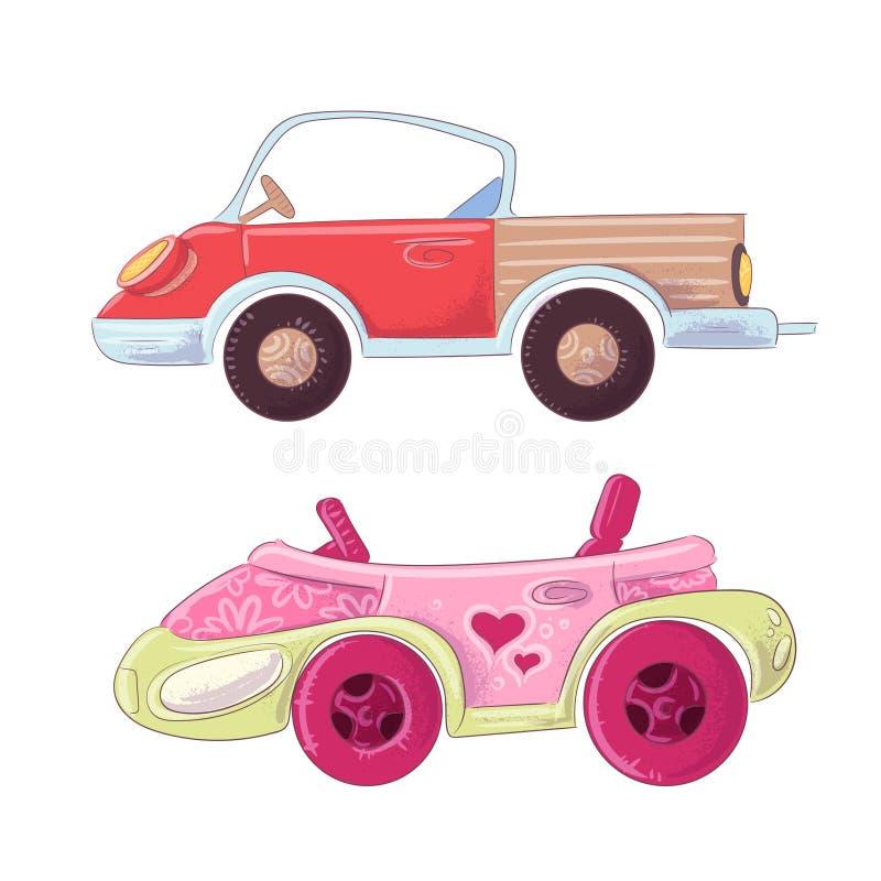 Set śliczna kreskówki ciężarówka, kabriolet dla dzieciaków ilustracyjnych i Wektor w ręka rysunku stylu royalty ilustracja