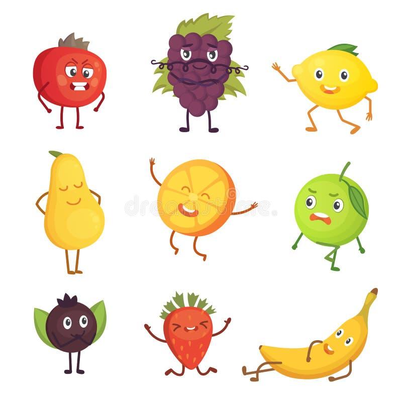 Set śliczna kreskówki owoc Wektorowa ilustracja z śmiesznymi charakterami Śmieszny świeża żywność czas royalty ilustracja