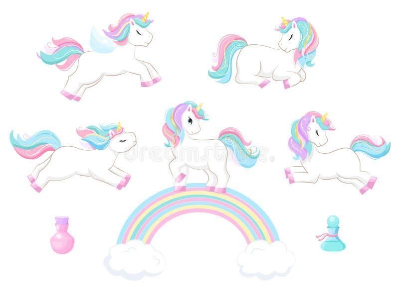 Set śliczna magiczna kreskówki jednorożec dzieci ilustracyjni ilustracja wektor