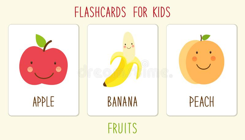 Set śliczna owoc dzieciaków edukacji ilustracja ilustracja wektor