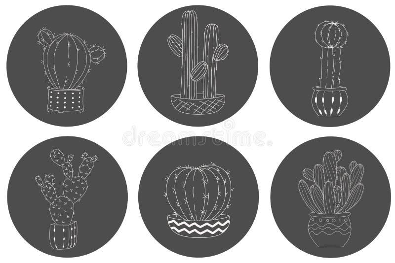 Set śliczna ręka rysujący kaktus w garnku na chalkboard tle royalty ilustracja
