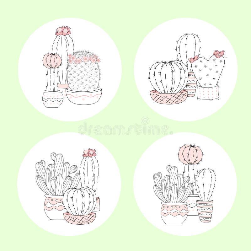 Set śliczna ręka rysujący kaktus z listami na koloru tle royalty ilustracja