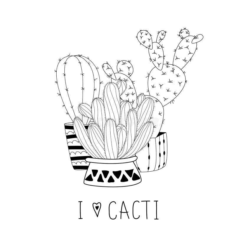 Set śliczna ręka rysujący kaktusy na białym tła i ręki literowaniu ilustracji