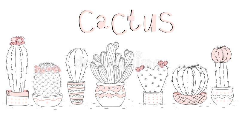 Set śliczna ręka rysujący kaktusy na białym tła i ręki literowaniu royalty ilustracja