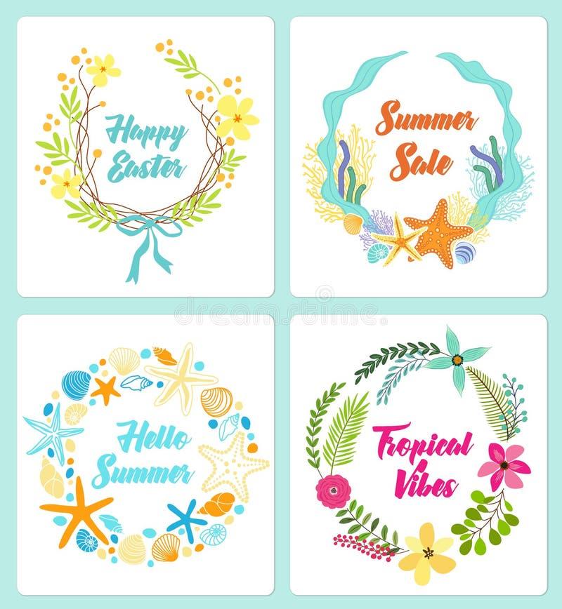 Set śliczna ręka rysujący rocznika kwiecisty wieśniak wreathes dla twój dekoraci ilustracja wektor