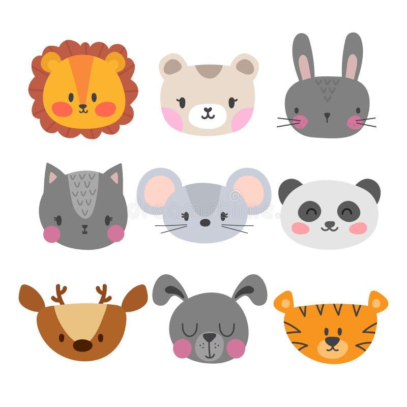 Set śliczna ręka rysujący uśmiechnięci zwierzęta Kot, lew, panda, tygrys, pies, rogacz, królik, mysz i niedźwiedź, Kreskówka zoo royalty ilustracja