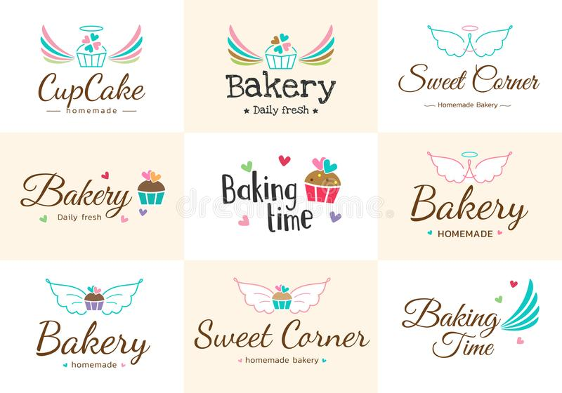 Set śliczna słodka piekarni odznaki etykietka i logo ilustracji