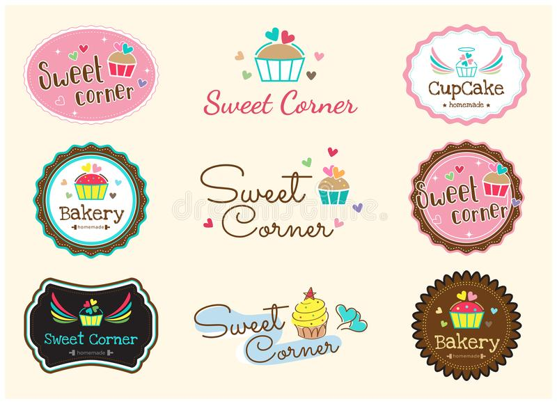 Set śliczna słodka piekarni odznaki etykietka i logo royalty ilustracja