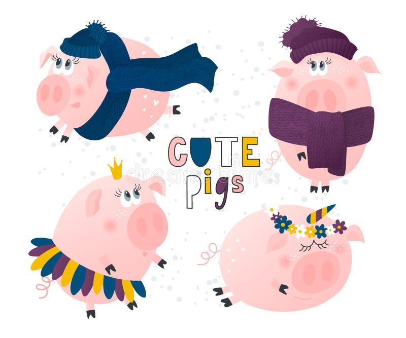 Set śliczne świnie Świnia w kapeluszu szaliku i, Princess, jednorożec postać z kreskówki śmieszni również zwrócić corel ilustracj ilustracji