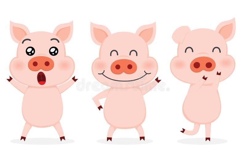 Set śliczne świnie ilustracja wektor