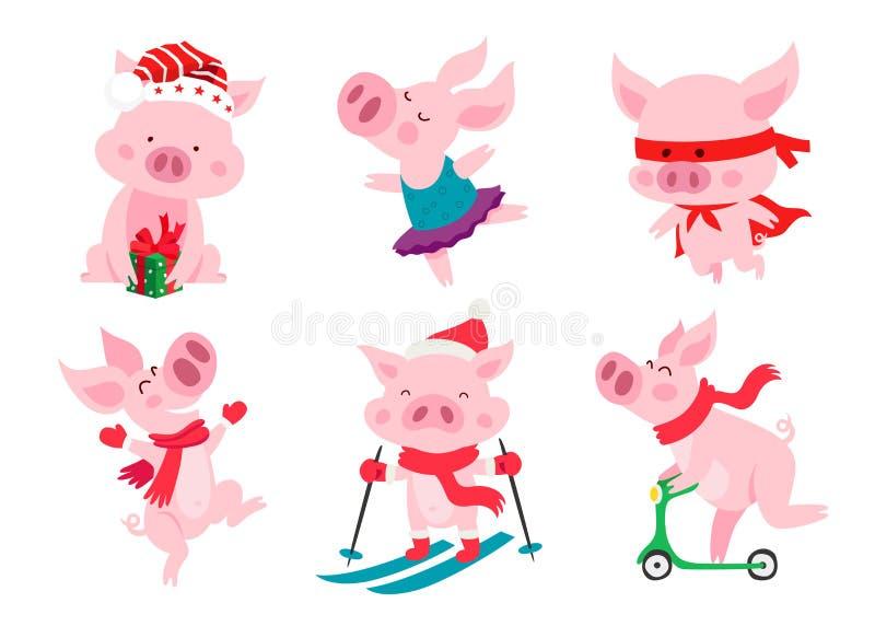 Set śliczne świnie Symbol Chińscy nowi 2019 rok ilustracji