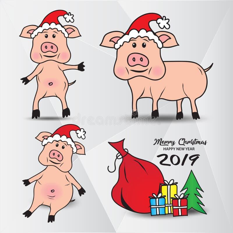 Set Śliczne świnie w kapeluszu Święty Mikołaj, prezentów pudełka z choinką, Wektorowy wizerunek ilustracji