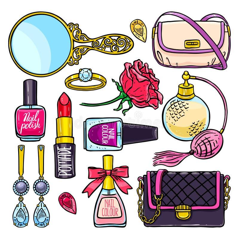 Set śliczne żeńskie rzeczy royalty ilustracja